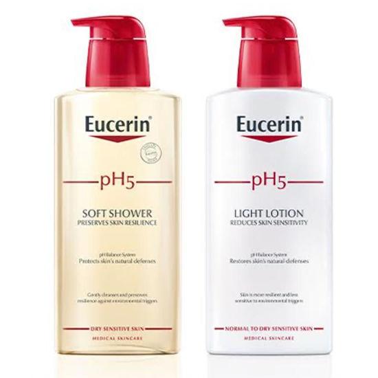 Eucerin PH5 gel za prhanje, 400 mL in PH5 lahek losjon, 400 mL