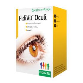 Slika Fidivit Oculi vitamini z luteinom in omega-3 DHA, 30 trdih + 30 mehkih kapsul